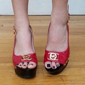 Michael Kors Red Patent Leather Platform Heels